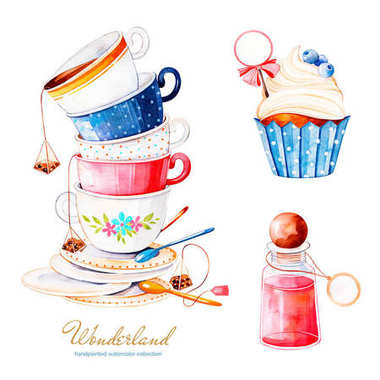 watercolor illustration of cake, tea cups and bottle, elements from Alice in wonderland fairytale on white background