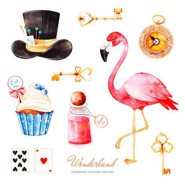 watercolor illustration of cake, tea, hat, keys, watch, cards and flamingo, elements from Alice in Wonderland fairytale on white background