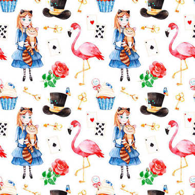 seamless color pattern with cartoon characters of Alice in Wonderland tale on white background