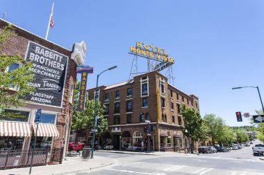 Facade of Hotel Monte Vista in the center of Flagstaff, Arizona, USA