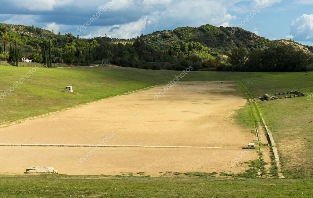 The stadium at archaeological site of Olympia, is located to the east of the sanctuary of Zeus. It was location of many sporting events at the Ancient Olympic Games, Greece
