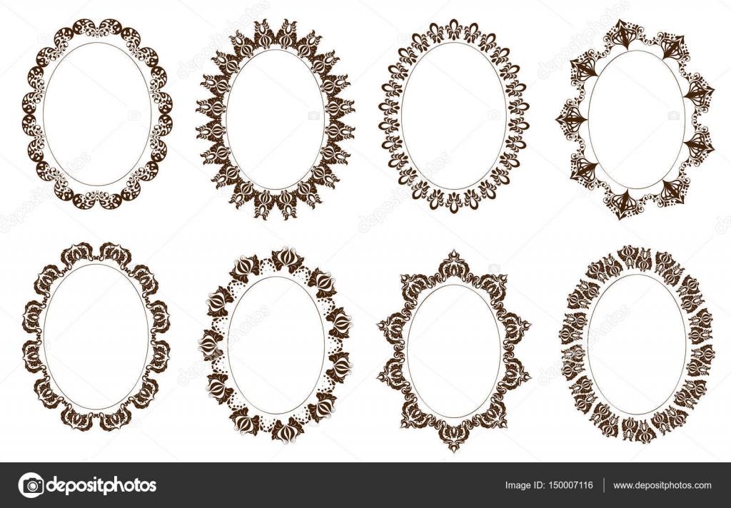 Conjunto de Marcos ornamentados ovales, viejo estilo de moda ...