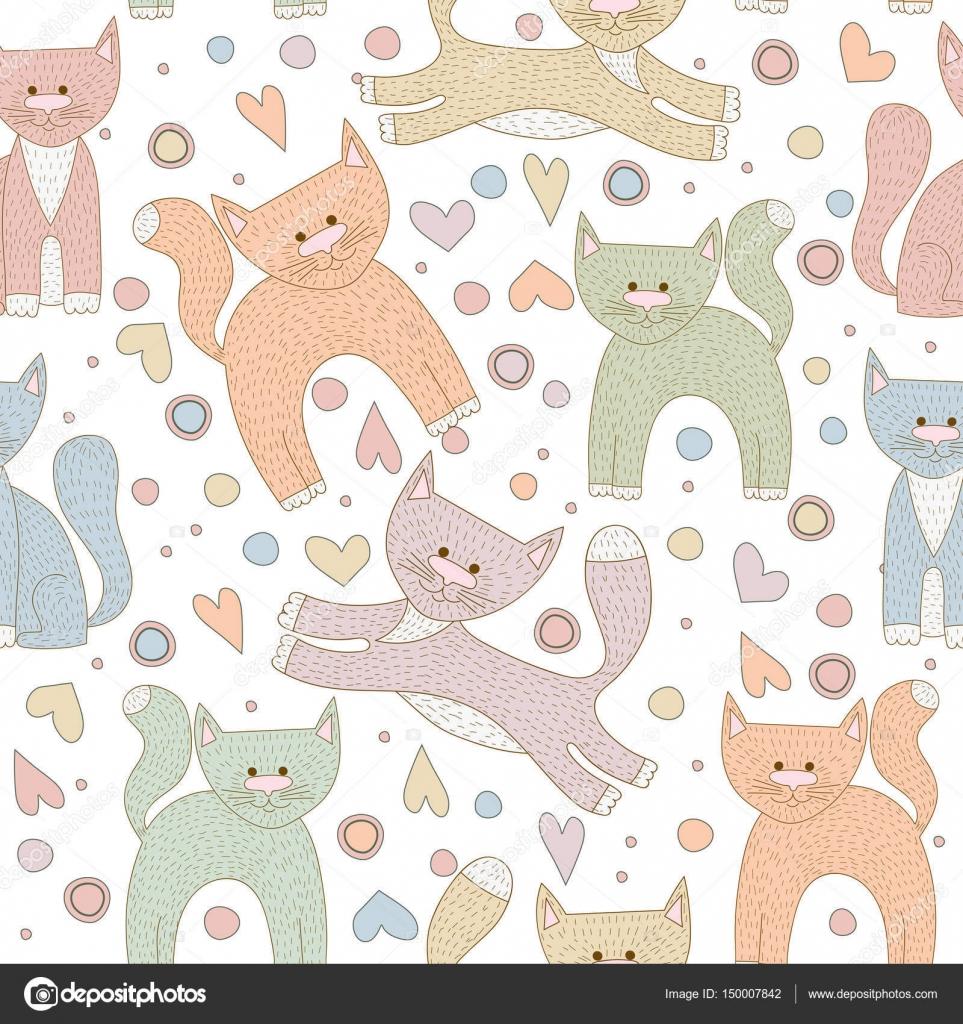 Gatos de dibujos animados lindo de patrones sin fisuras de ...