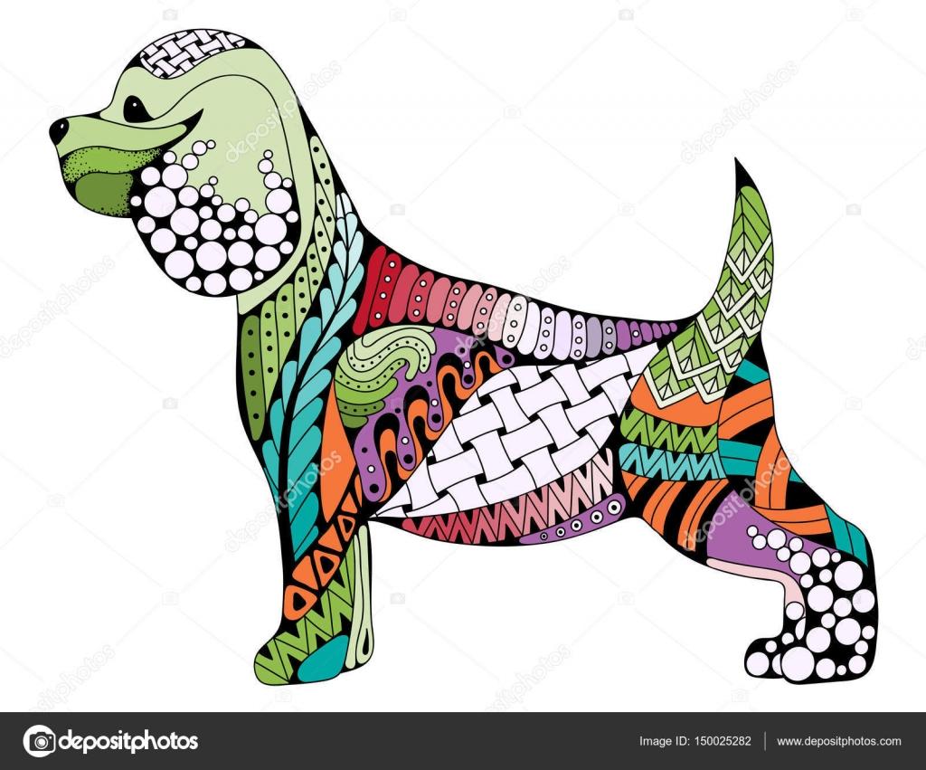 Coloriage De Chien Cocker Anglais.Dessin Anime Stylise Zentangle Cocker Spaniel Chien Isole Sur Blanc