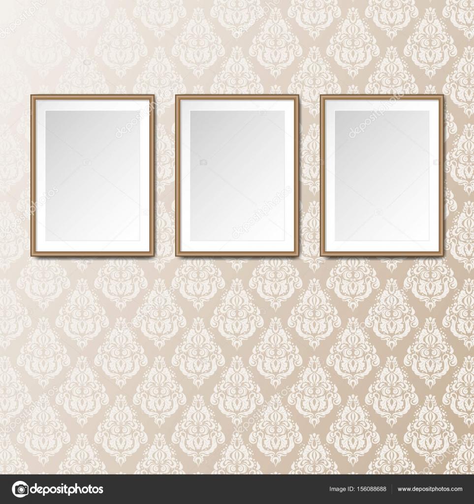 Interieur van de galerie met 3 lege frames achtergrond — Stockvector ...