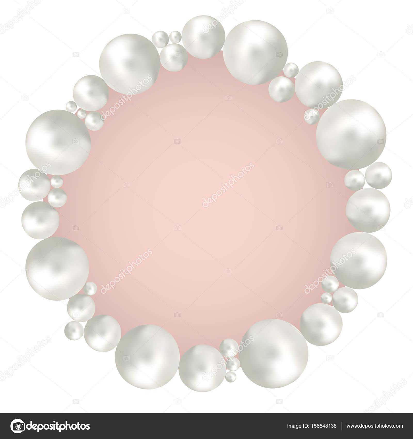 Marco de perlas aislada sobre fondo blanco — Archivo Imágenes ...