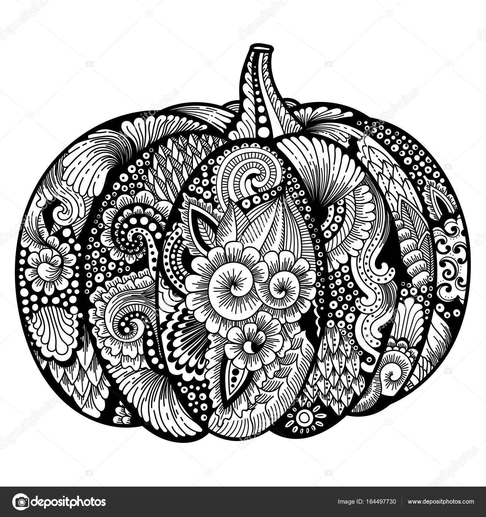 Pumpkin With Zentangle Pattern Stock Vector 169 Meranna