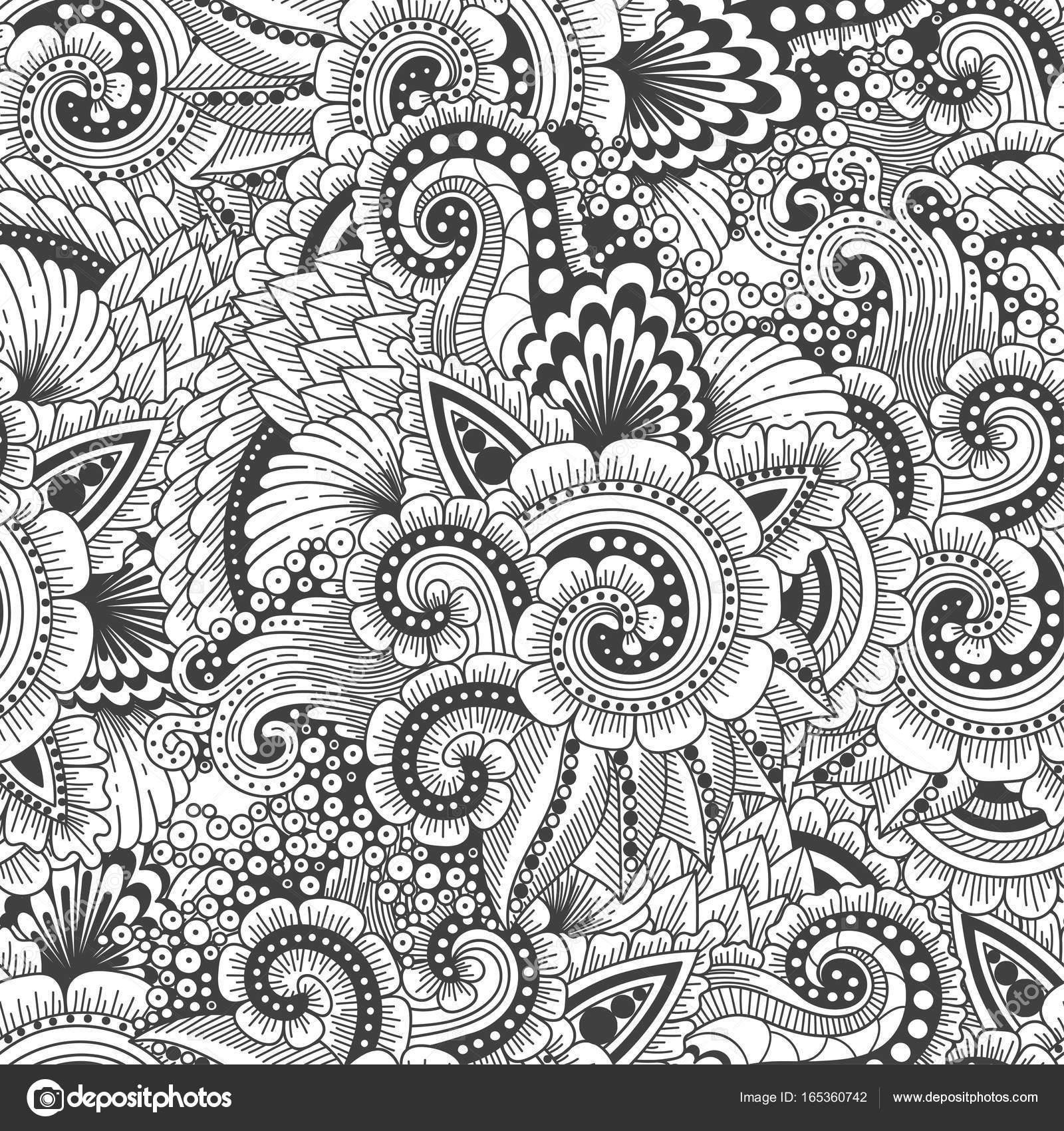 Patrón sin costuras ornamentales doodle étnicos — Archivo Imágenes ...