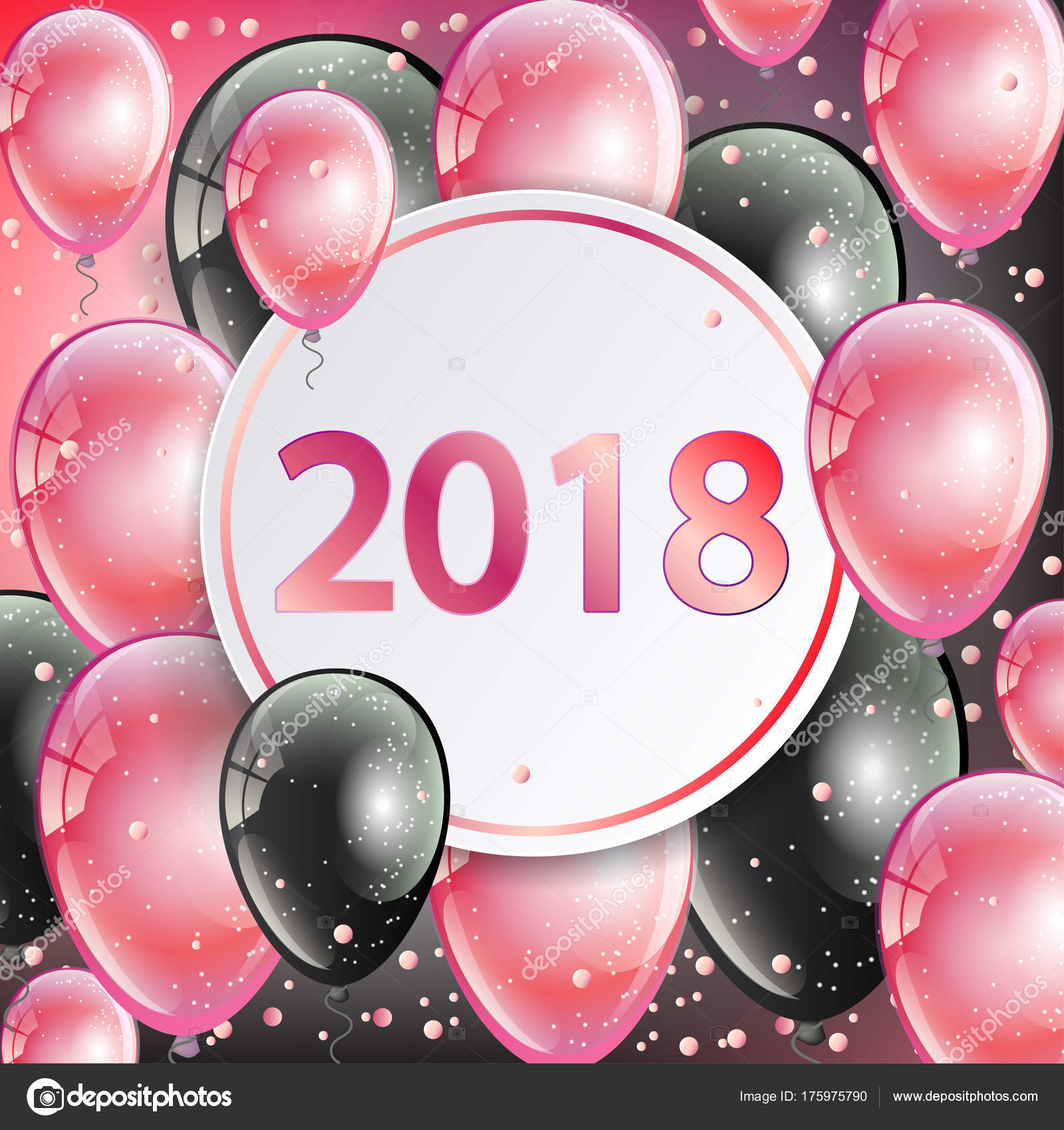 happy new year 2018 greeting card with pink and black balloons stock vector