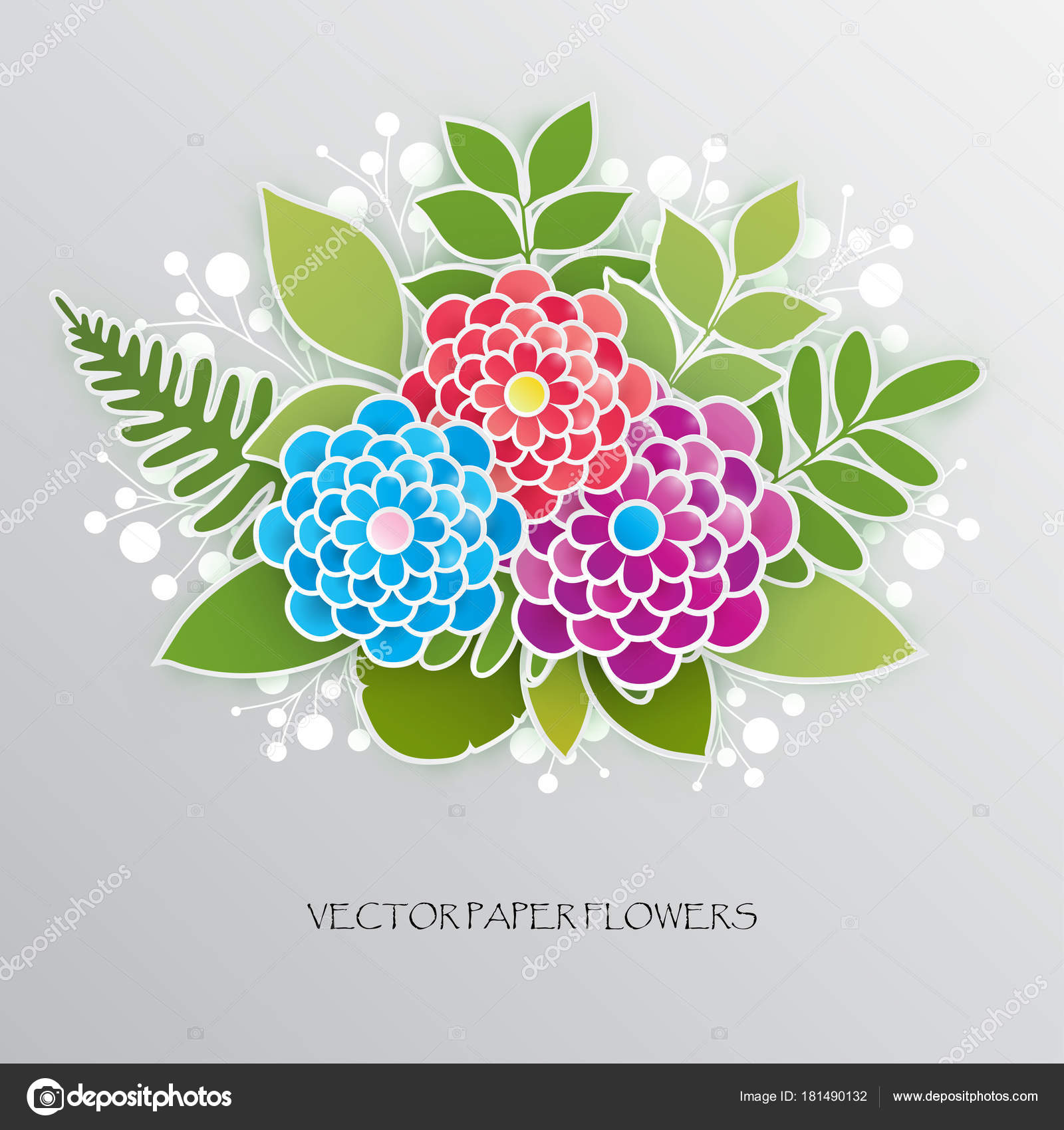 Elegant Floral Background With 3d Paper Flowers And Leaves Stock
