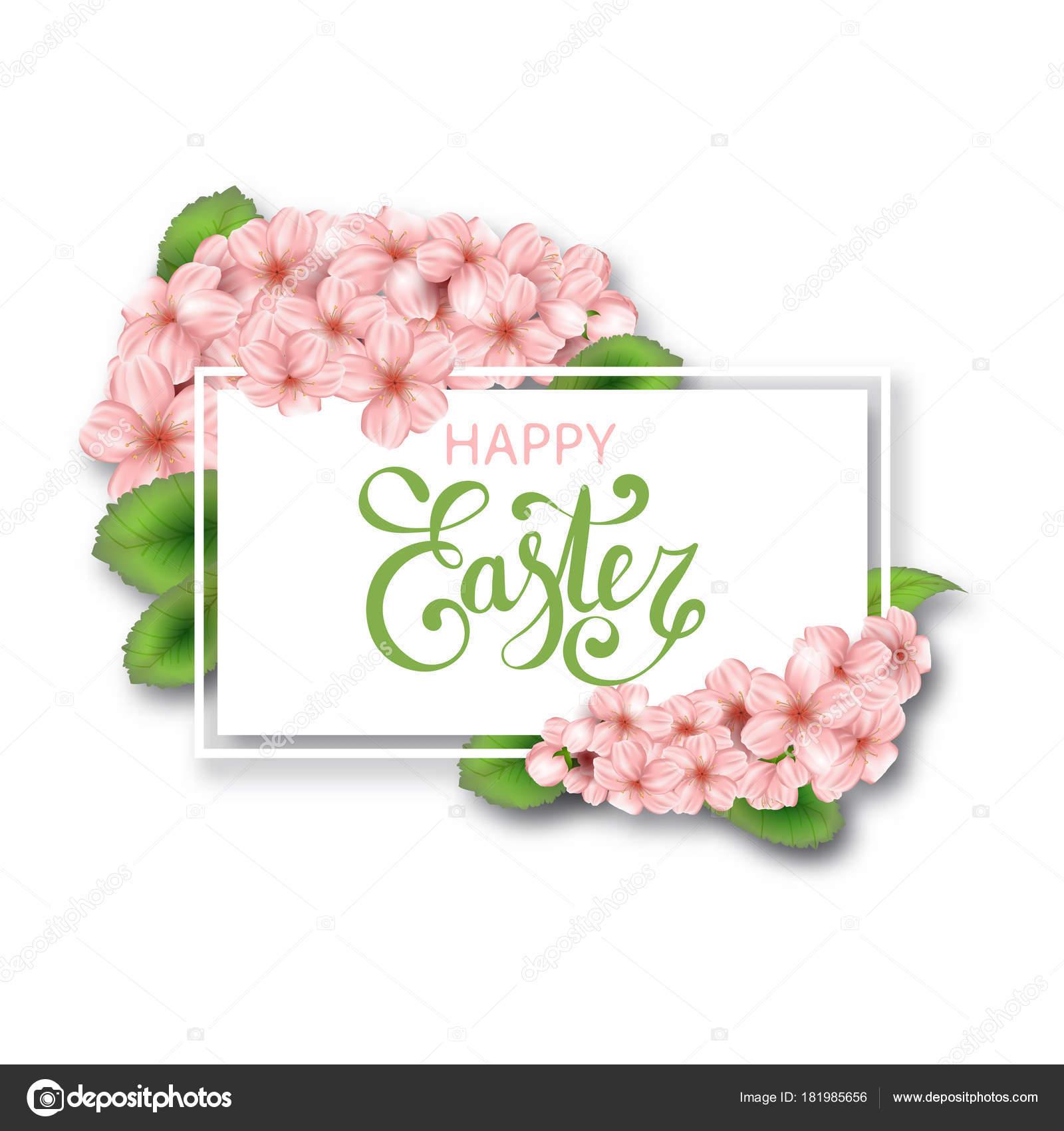 Ostern Vektor Rahmen Mit Realistischen Blüten Und Blätter Frühling ...