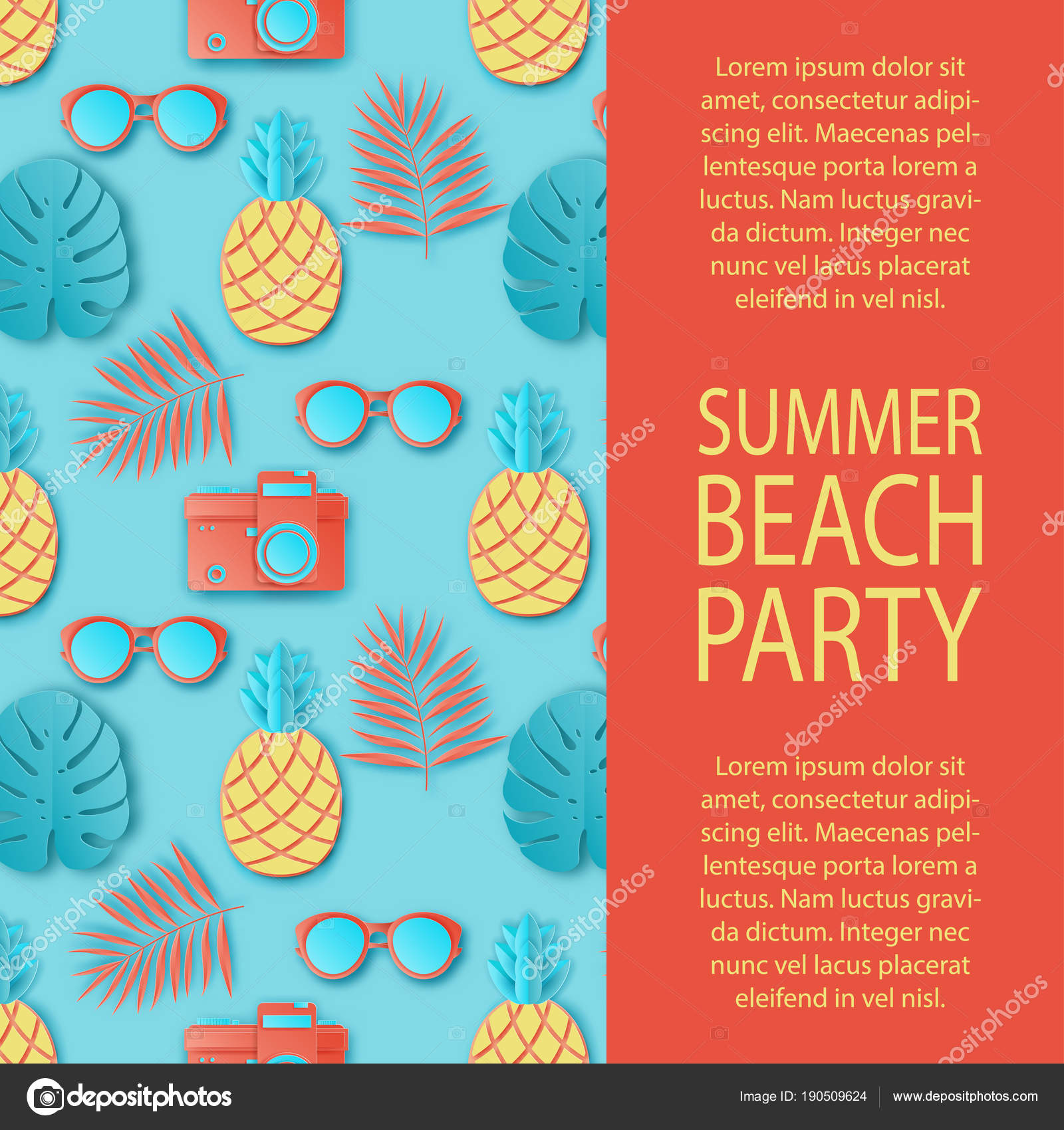 Summer party invitation. Tropical palm leaves, cute pineapple ...