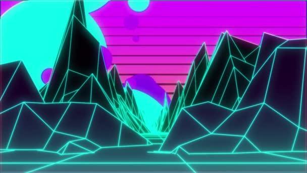Retro 80's neon landscape  Animation background