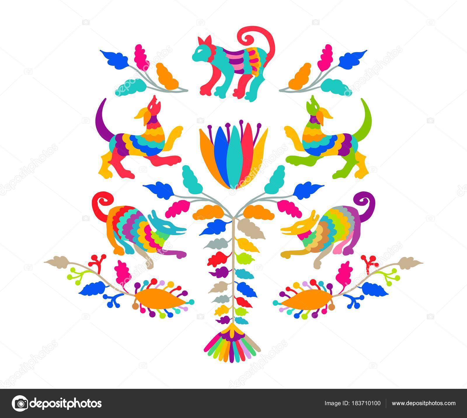 Bordado otomí mexicana estilo popular patrón de vectores — Vector de ...