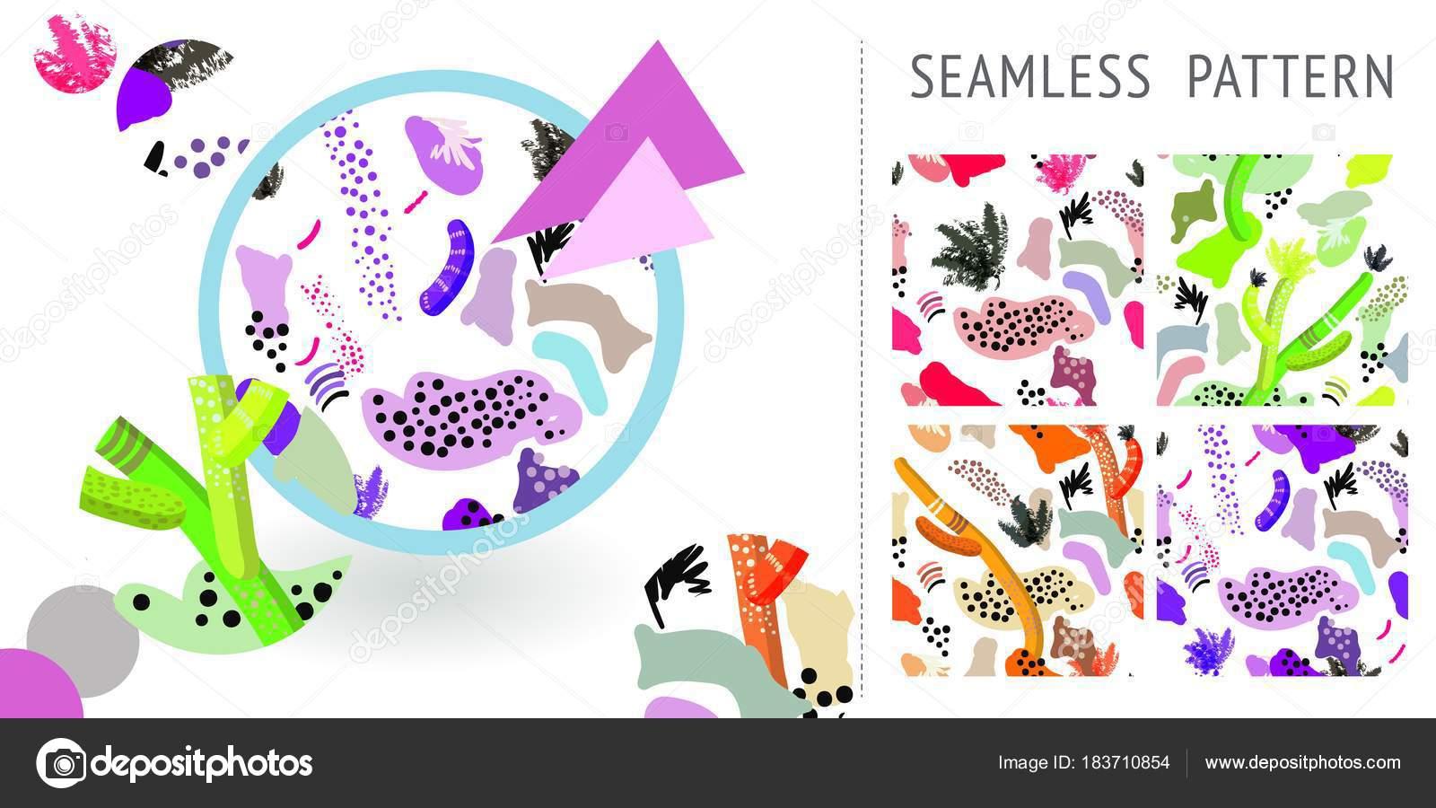Conjunto de verano único dibujado a mano patrones abstractos. Puede ...