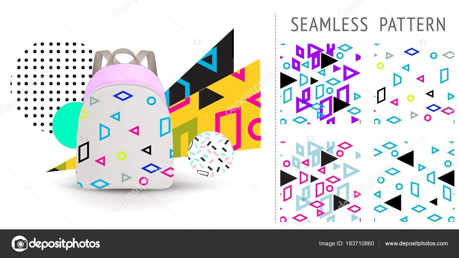 Un conjunto de patrones sin fisuras de memphis multicolores verano ...