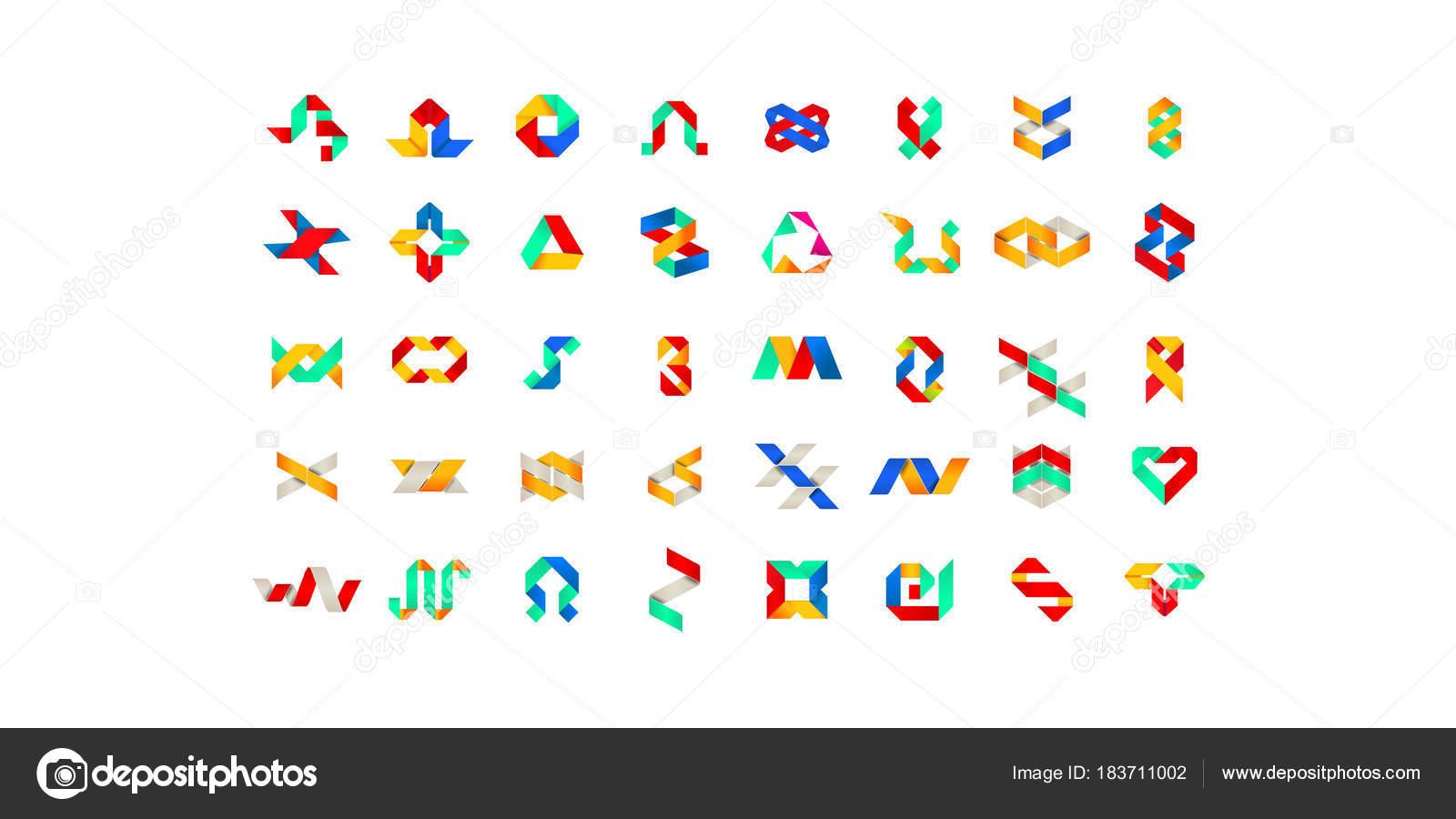 Gran conjunto de símbolo multicolor geométrica mínima establece ...