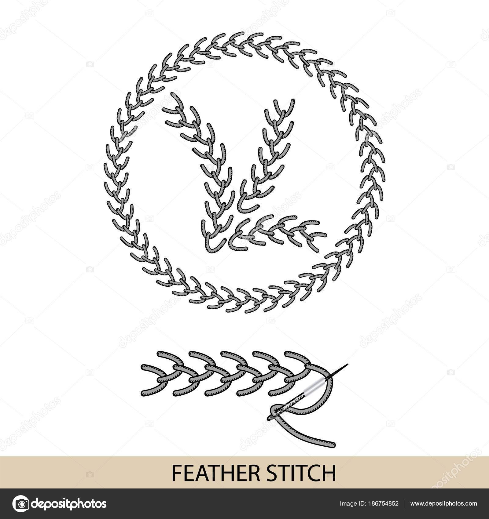 Thread Handstickerei und Stiche nähen — Stockvektor © Wildrabbit ...