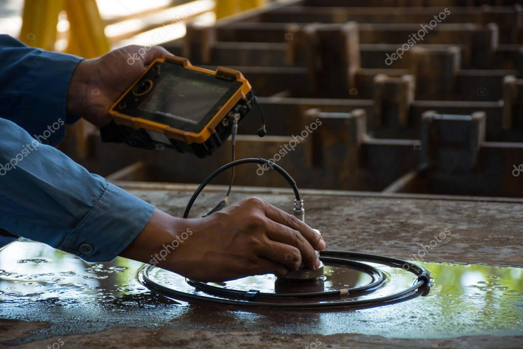 Ultrasonic test to detect imperfection or defect of steel plate