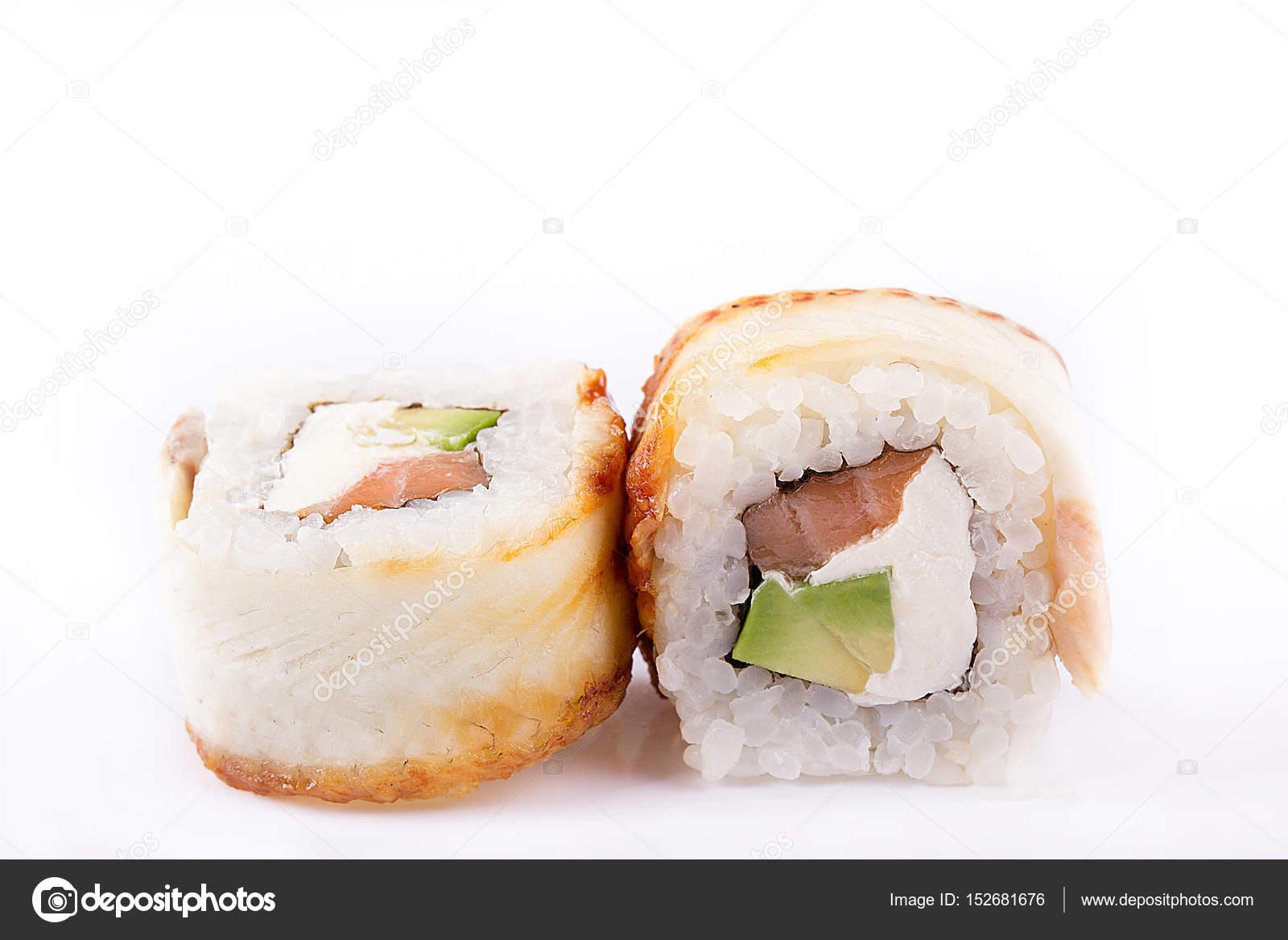 japanische Küche, Sushi Set: Rollen mit Aal, Lachs, Frischkäse ...