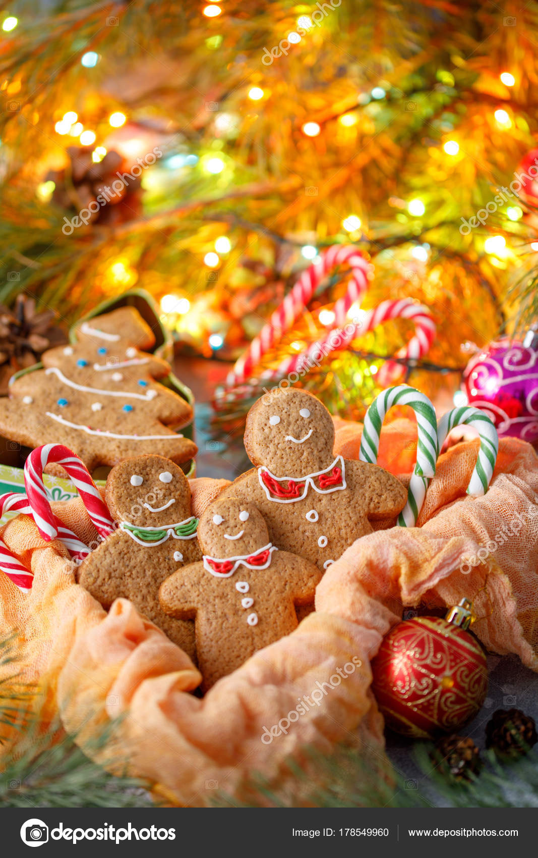 Christmas Traditional Ginger Biscuits In The Form Of Christmas Trees