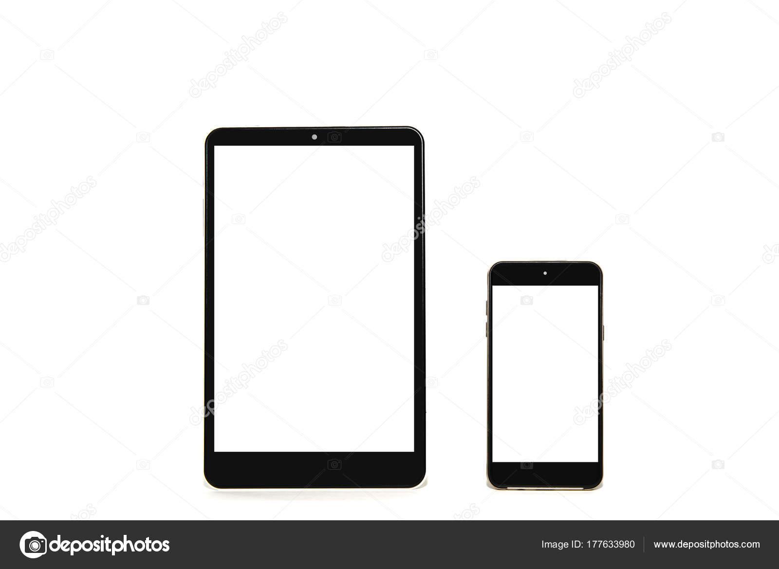 Tablet Telefono Isolato Sfondo Bianco Vuoto Bianco Display Integrare