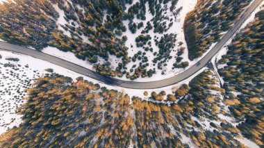 Aerial view of cars on a curvy road in the mountains in winter forest.