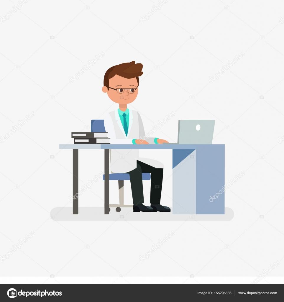 Personnage de dessin animé médecin assis sur le bureau