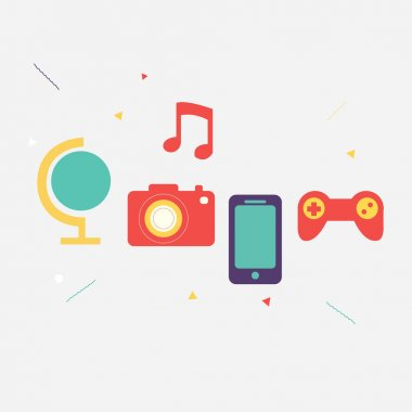 Multimedia icons set for web vector