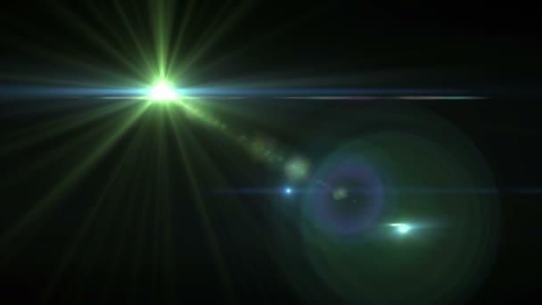 Abstraktní digitální zelené objektivu flare efekt a záře hvězdné efekt s 4k videa