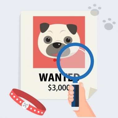 flat hand with magnification find cute dog from poster and footmark vector illustration.Missing dog and finding concept.