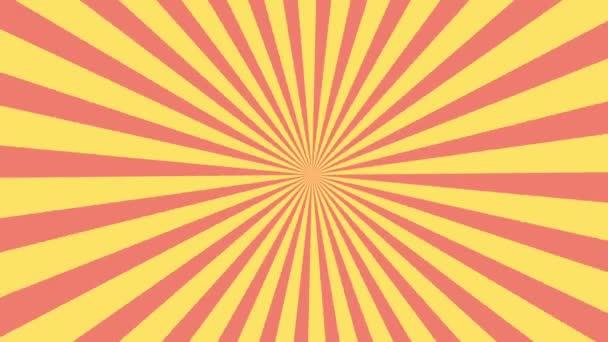 Animazione di modello cerchio e priorità bassa dello sprazzo di sole rosso e giallo. Colorate Retro Pop Art stile sfondo giallo movimento video. spazio di riga di testo comico bolla sullo sfondo.