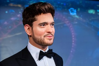 London, England, UK - January 2, 2020: Waxwork statues of Michael Buble, Madame Tussauds waxwork museum, one of the popular touristic attractions