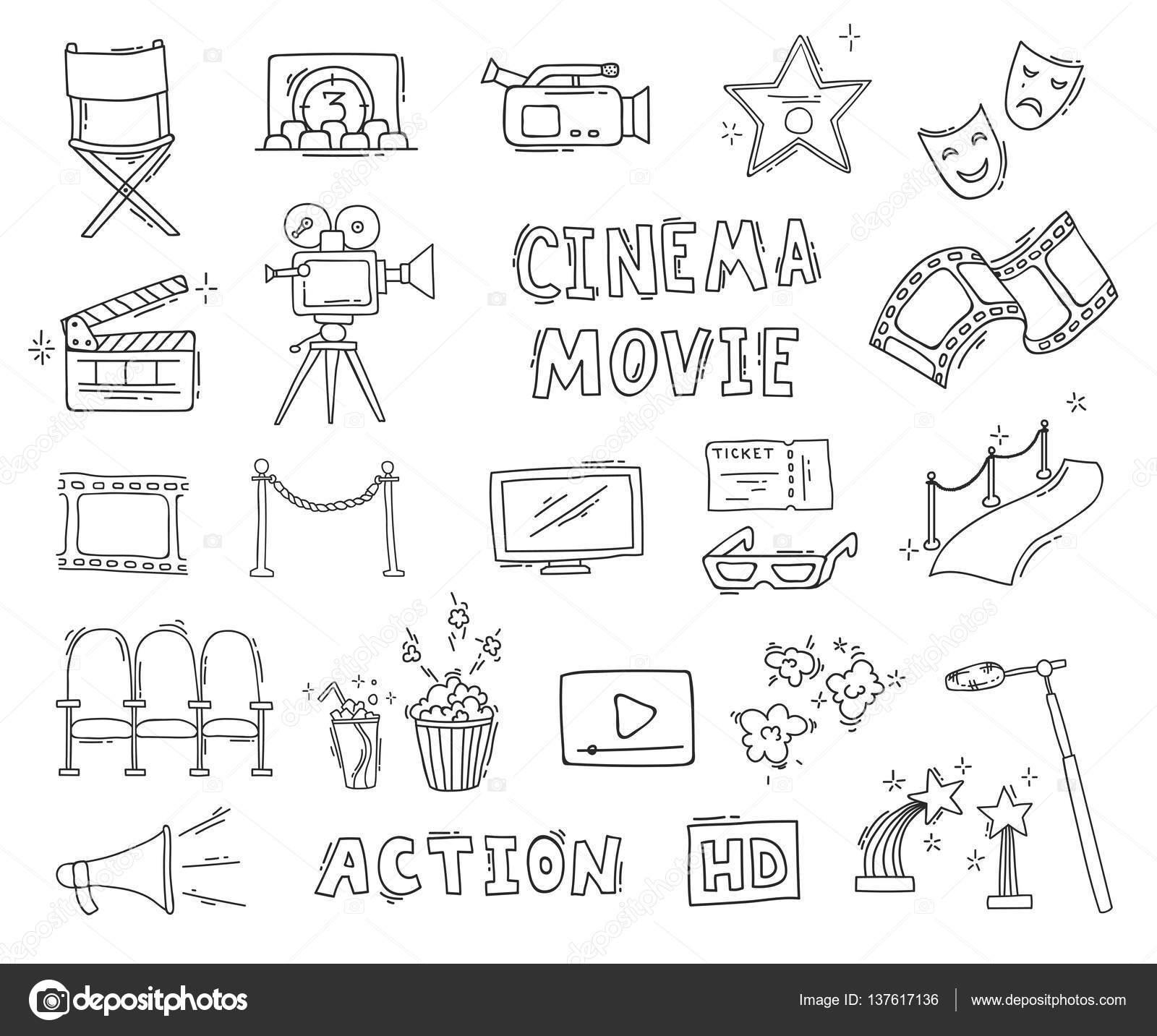 Imágenes Boletos De Cine Para Colorear Conjunto De Iconos De Cine