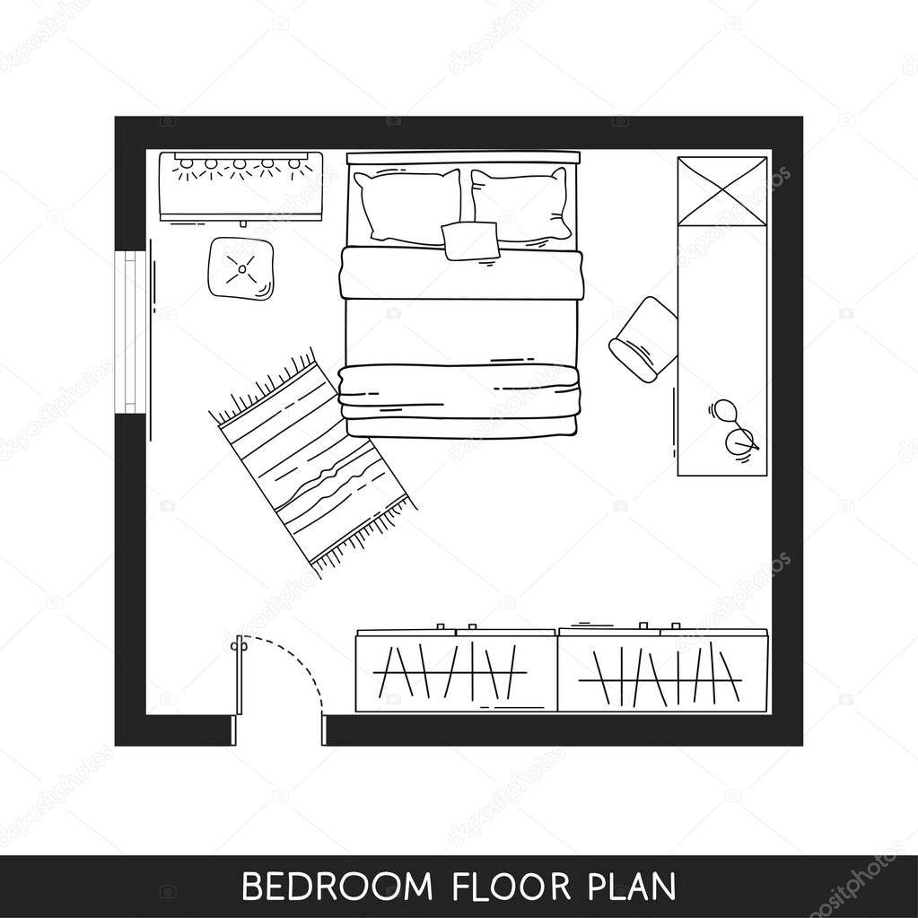 Programma architettonico con mobili in vista dall 39 alto for Programma per disegnare mobili
