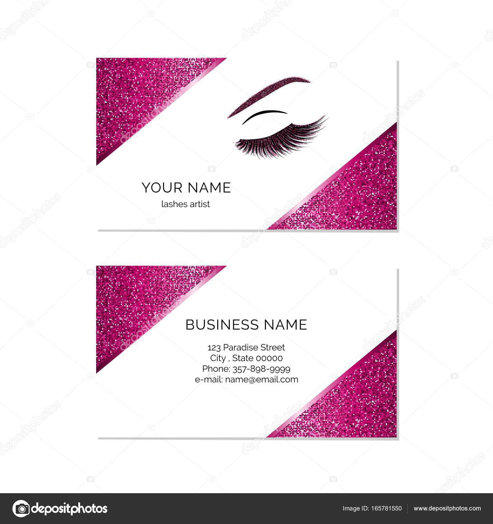 Makeup artist business card vector template — Stock Vector © sashica ...