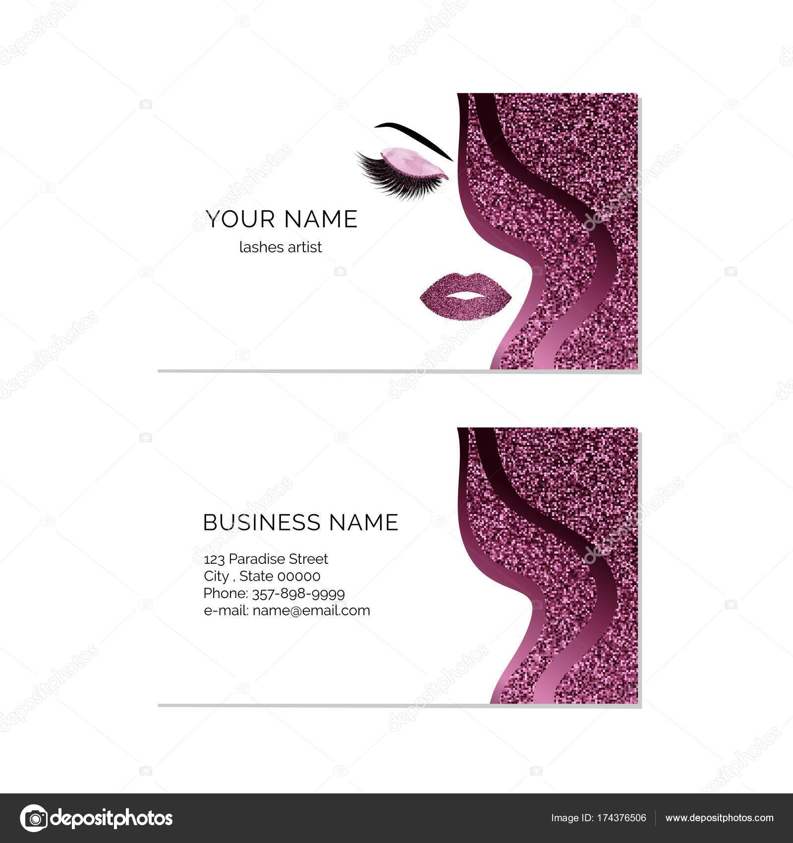 Makeup artist business card vector template — Stock Vector ...