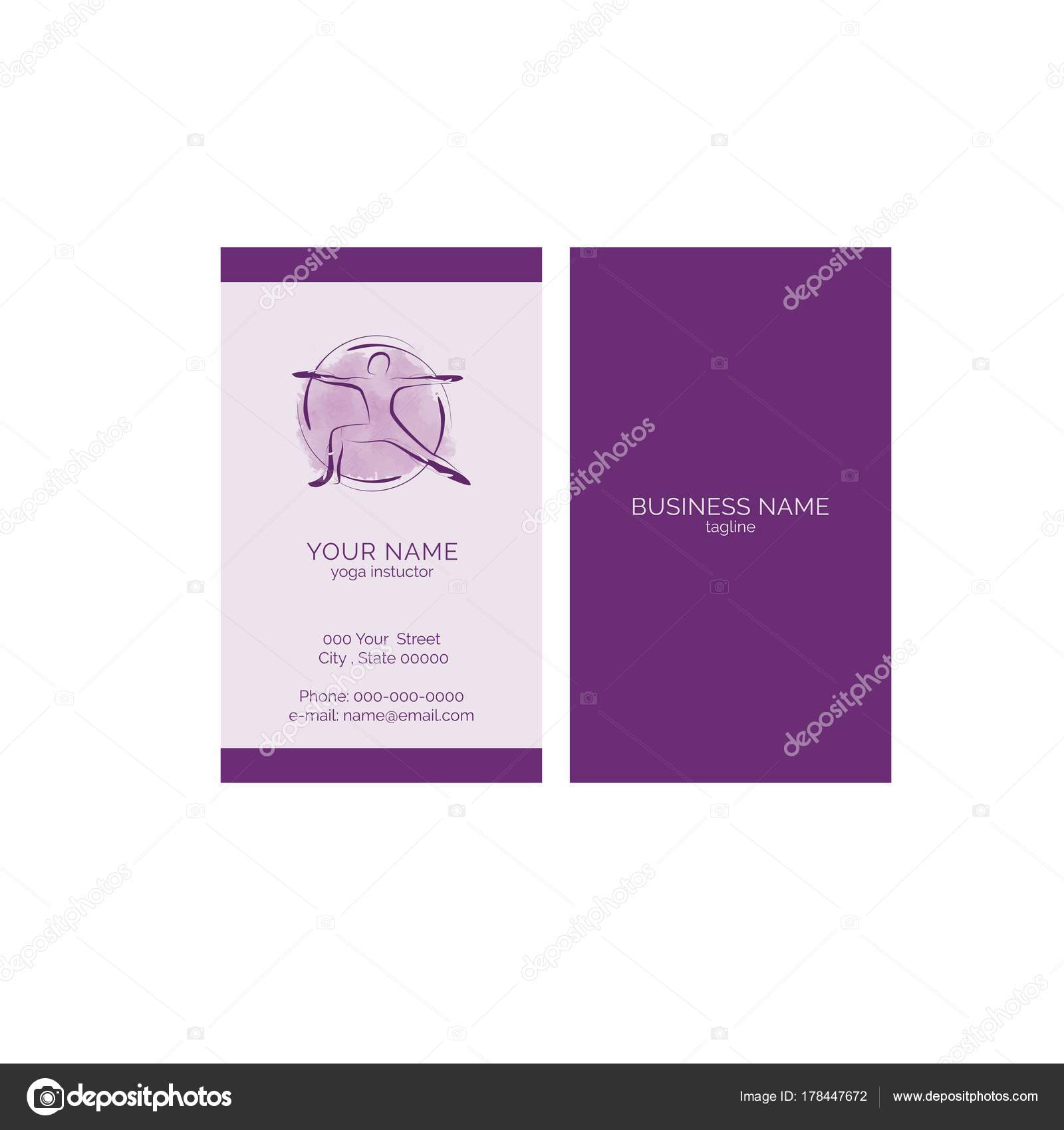 Yoga Business Card Vector Template — Stock Vector © sashica #178447672