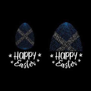 Happy Easter and Easter egg with Scottish flag