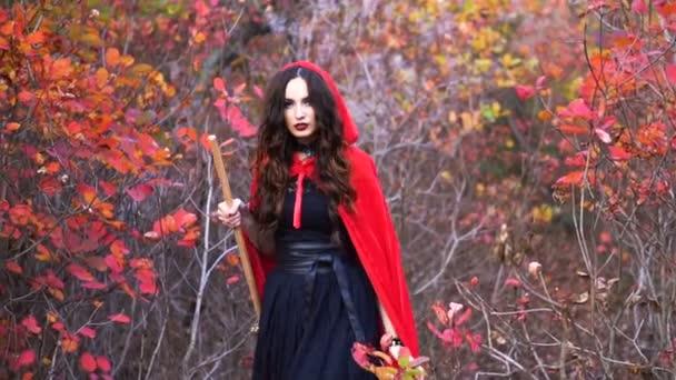 Mladý nádherný bruneta čarodějnice s červeným pláštěm v mystické podzimní les
