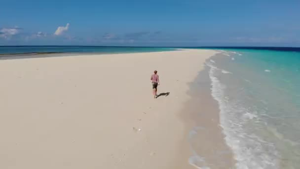 Traveller on Zanzibar. Empty beach at Snow-white sand bank of Nakupenda Island. Appearing just a few hours in a day. Aerial drone shot
