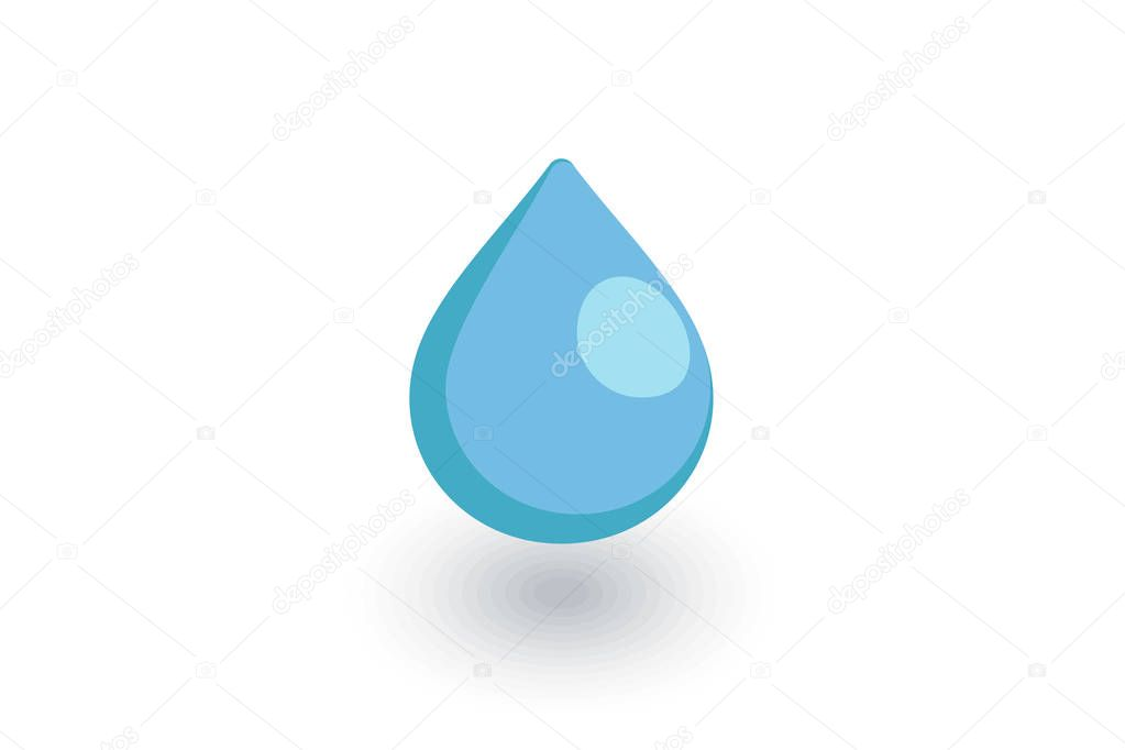 water drop isometric flat icon. 3d vector