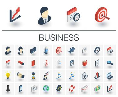 Business and management isometric icons