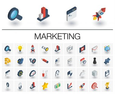 SEO and market analytics isometric icons