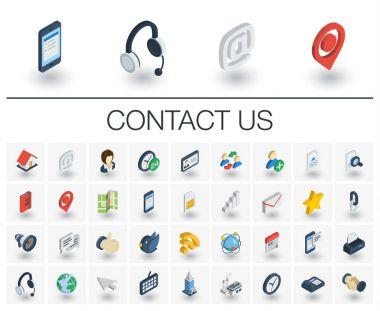 Contact us and Communication isometric icons