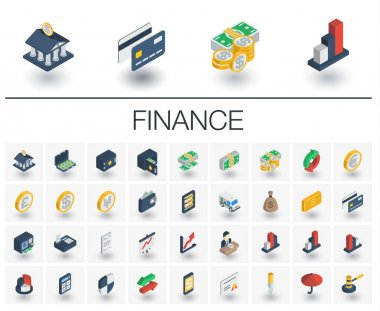 Banking and finance isometric icons