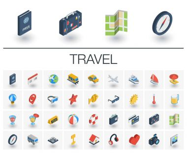 Isometric flat icon set. 3d vector colorful illustration with travel, tourism symbols. Summer vacation, airplane, map, luggage, sunglasses colorful pictogram Isolated on white clip art vector