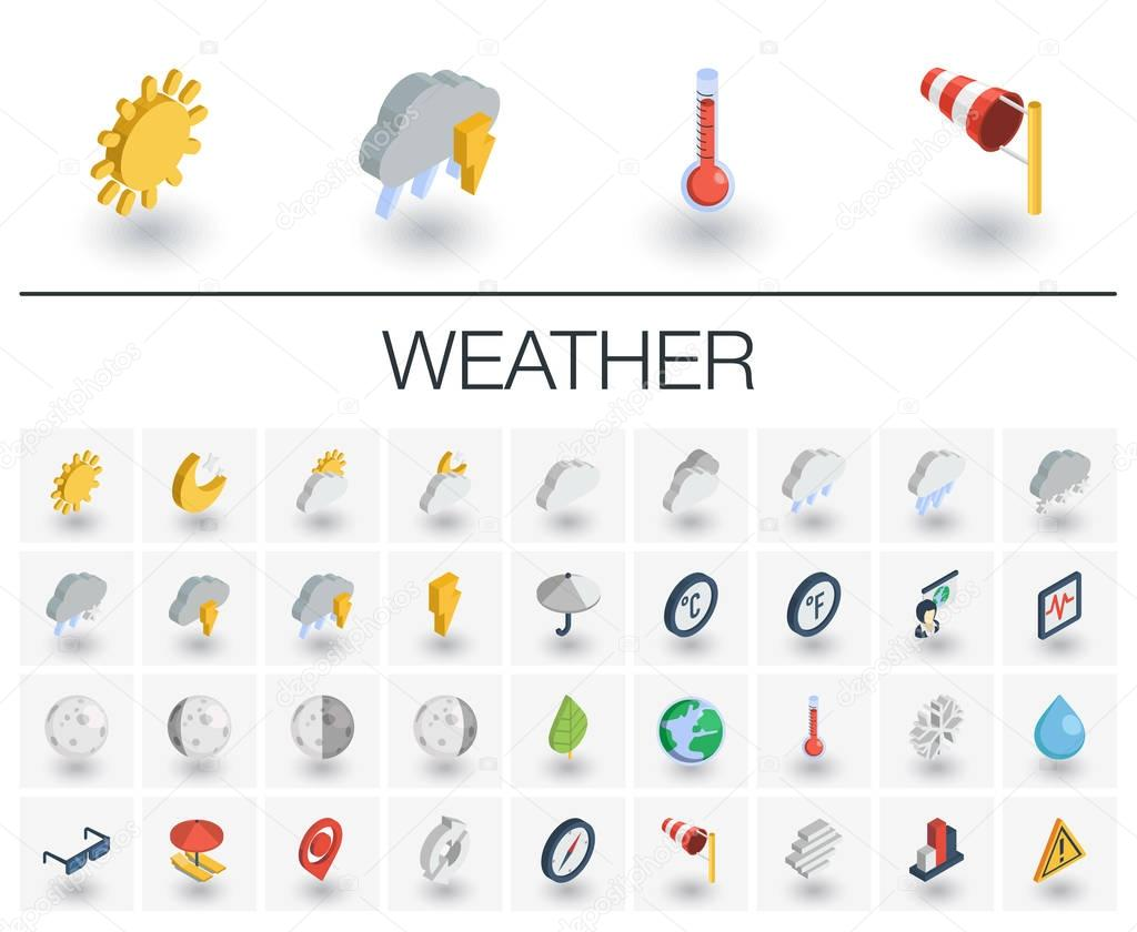 Meteo and weather isometric icons