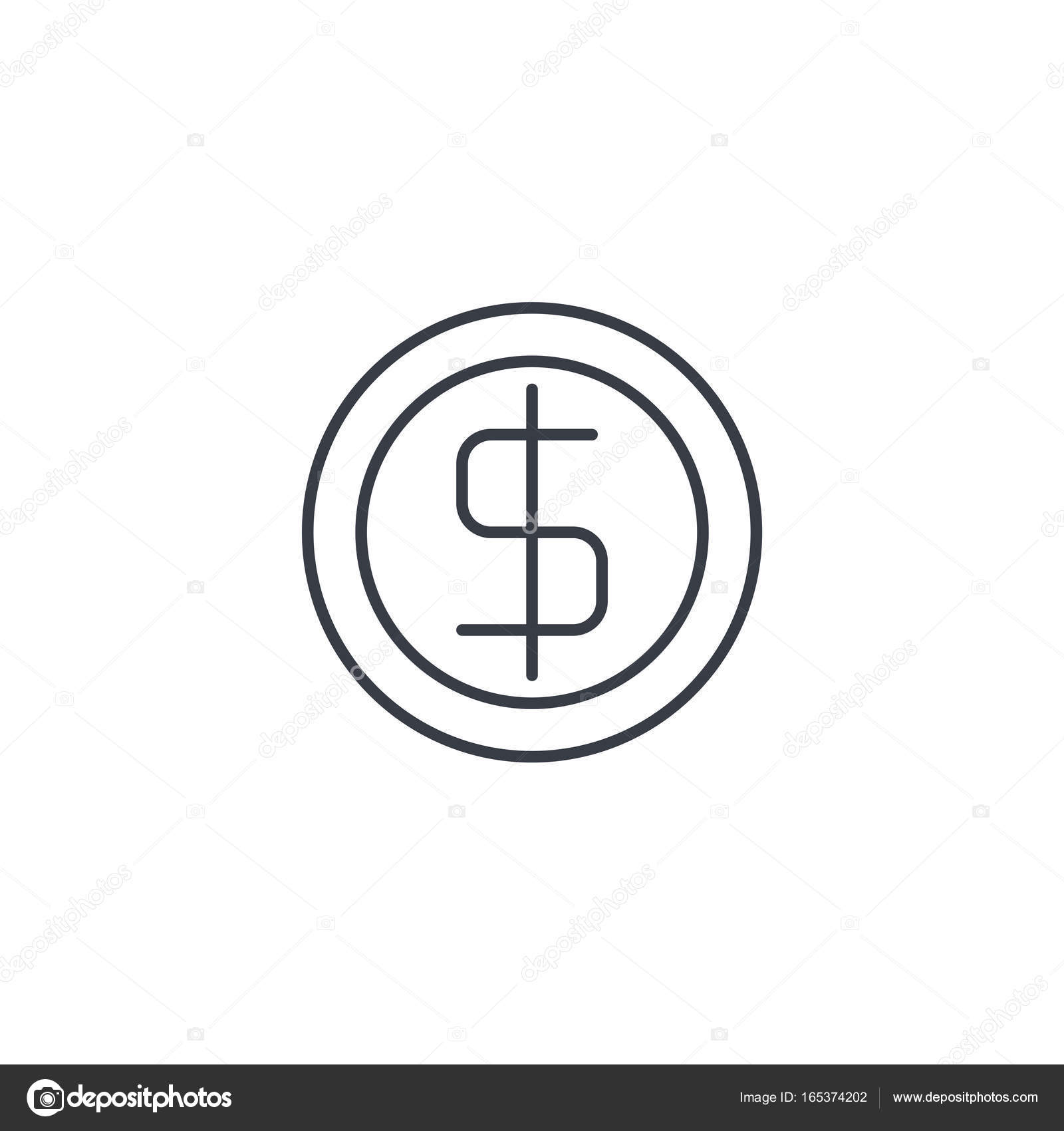 Coin Dollar Money Finance Currency Thin Line Icon Stock Vector