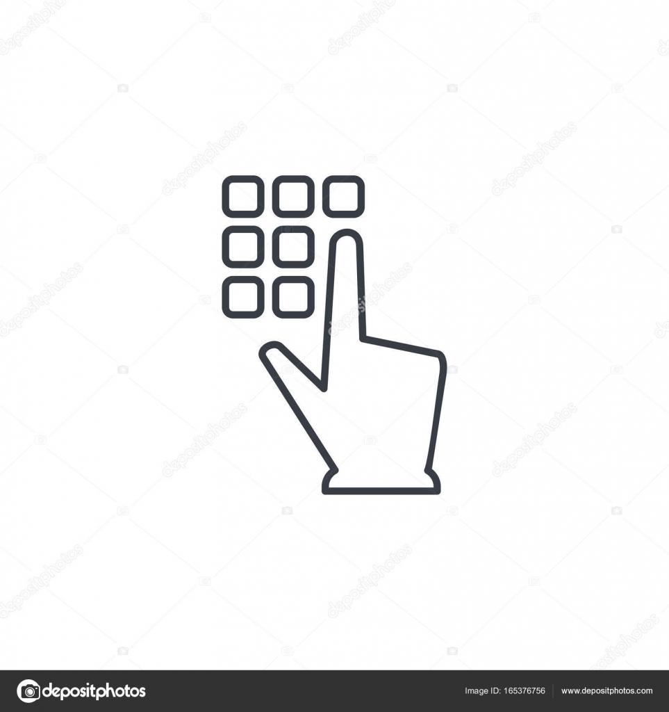 Pin code keypad, access security lock, hand pushing thin line icon